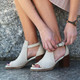 """Lifestyle View. Women Shoes, Women's Sandal, OTBT Metaphor, cut out bootie, Leather upper, 3"""" heel, Color Sport White"""