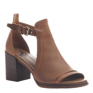 "Quarter View. Women Shoes, Women's Sandal, OTBT Metaphor, cut out bootie, Leather upper, 3"" heel, Color Medium Brown."