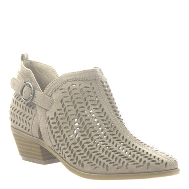 """Quarter View. Women Shoes Online, Women's Shoes, Women's Boots. Madeline Girl Tranquile, 1.3"""" heel bootie, perforated leather. Light Mud"""