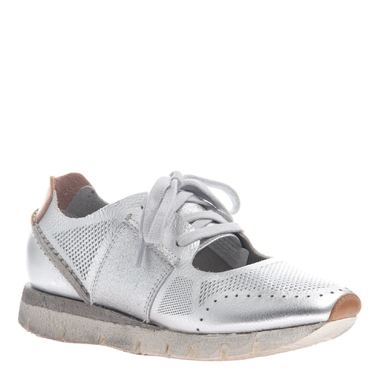 """Quarter View. Women Shoes, Women's Sneakers, OTBT Star Dust, cut out Sneaker, 1"""" heel, Color Silver, Light Weight EVA outsole"""