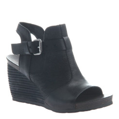 "Quarter View:  Women Shoes, Women's Sandals, OTBT Arcadian, 3"" stacked wedge sandal, Texture blocked leather, Color Black."