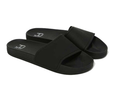 "Pair View: Women's Shoes, Women's Sandals, Jeffrey Campbell Follow Lo, Platform Slides, 1"" platform, Color: Black Matte"