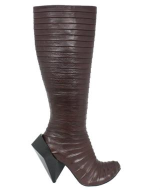 Side View: Women's Shoe, Irregular Choice, Tall Pleated Fabric Knee High Boot, Gem Cut Heel, Brown