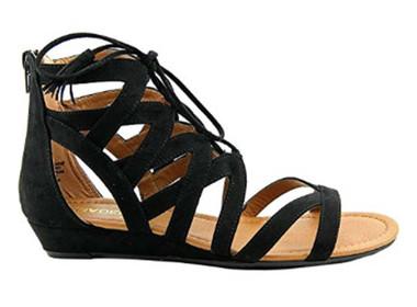 "Side View: Women's Shoes, Women's Sandals, Madeline Girl Saturate, Gladiator Sandal, 1"" heel, Color: Black"