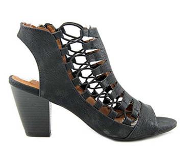 "Side View 2: Women Shoes, Women's Sandals, Madeline Winning, Women's Mid Heel Sandal, 2.5"" heel, Cut Out Upper, color Black."