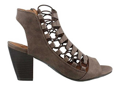 "Side View: Women Shoes, Women's Sandals, Madeline Winning, Women's Mid Heel Sandal, 2.5"" heel, Cut Out Upper, color Dark Dune."