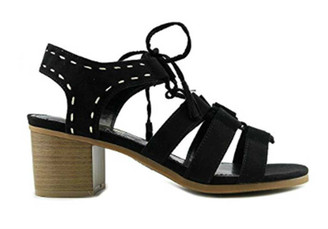 "Side View: Women's Shoes, Women's Sandals, Madeline Girl Gallop Sandal, 2.13"" heel, Color: Black with White pick stitching at ankle."