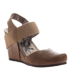 OTBT Rexburg- Women's Wedge with contrast elastic band- Dark Brown and brown Elastic