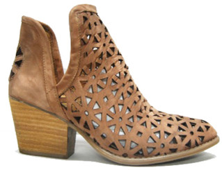 "Side View: Women's Shoes, Women's Bootie, Perforated leather, 2"" heel, Color: Brown"