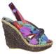 Women's Shoes, Irregular Choice Amy Lasagne, Women's Wedge Sandal, Abstract Slingback Wedge Sandal, Tan Green