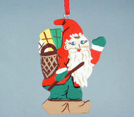 Tomte with Sack and Stick Wooden Ornament (3311)