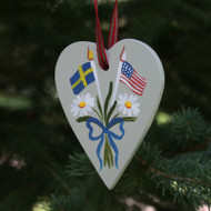 Sweden & USA Flag Heart Ornament - Wooden (3657)