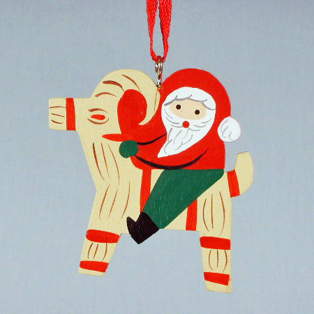 tomte on goat wooden ornament 3305t