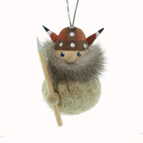 Viking Ornament - Brown/Tan - Wooden w/Felt Body (26240)
