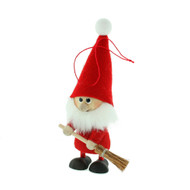 "Elf Santa Ornament w/Broom - Wooden/Felt - 5 1/2"" (26282)"