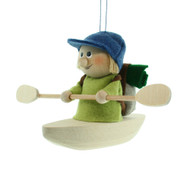 "Backpack Kayak Boy Ornament - Wooden/Felt - 5"" (26284)"
