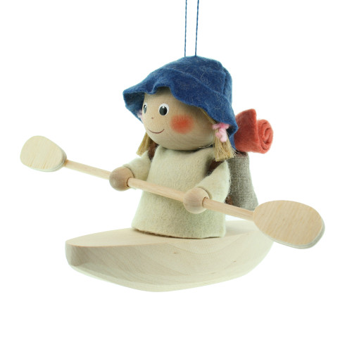 "Backpack Kayak Girl Ornament - Wooden/Felt - 5"" (26285)"