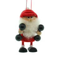 "Dumbbells Elf Santa Ornament - Wooden/Felt - 3 1/2"" (26286)"