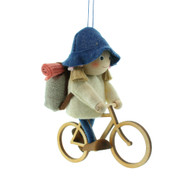 "Backpack Cycle Girl Ornament - Wooden/Felt - 5"" (26288)"