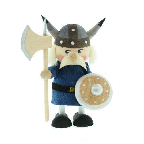 Viking w/ Battle Ax and Shield - Wooden - 4 inches Tall (26293)