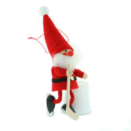 "Hockey Player Elf Santa Ornament - Wooden/Felt - 6 1/2"" (26298)"