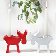 Moose Candleholders - Red or White (7265)