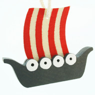 Viking Ship Ornament - Wooden (45420)