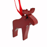 Wooden Moose Ornament - Red (44302R)