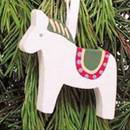 Dala Horse Wooden Ornament - White (44708W)