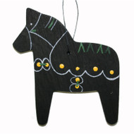 Dala Horse Wooden Ornament - Black (887BLK)