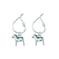 Dala Horse Round Earrings - Silver (62919)