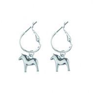 Dala Horse Round Earrings - Silver (62919)
