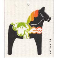 Swedish Dishcloth - Dala Horse - Black (56189B)