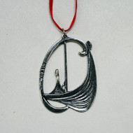 Norwegian Pewter Ornament - Viking Ship Prow (78-3187)