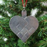 Norwegian Pewter Ornament - Pleated Heart (78-3204)