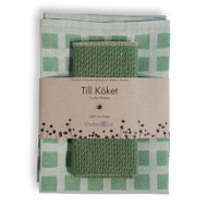 Linen Disktrasa Dishcloth and Towel Set - Green (84-24)