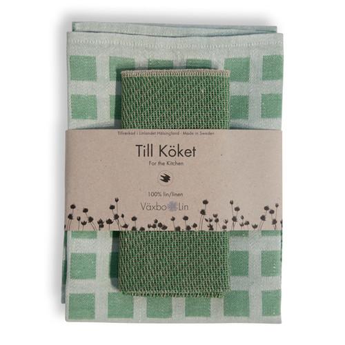 Linen Disktrasa Dishcloth and Towel Set - Green (84-24)