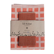 Linen Disktrasa Dishcloth and Towel Set - Orange (84-4)