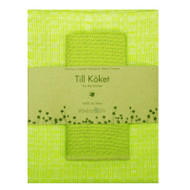 "Linen ""Snackskal"" Towel & Dishcloth Set- Lime (89-17)"