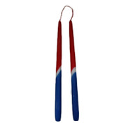 "Taper Candles - 13"" - 1 Pair - Red/White/Blue - Norway/Iceland (169N)"