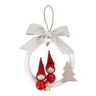 Tonttu Christmas Elf Ornament - Boy &Girl in Wreath (B6084)