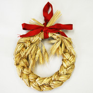 "Straw Wreath/Ring with Ribbon &Wheat - 6"" (H1-320-6)"