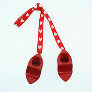 Clogs With Heart Ribbon Ornament - Wooden Shoes (44338R)