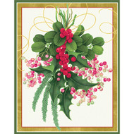 Caspari Christmas Cards - Swag W/ Holly And Berries - Boxed 16 (85010C)