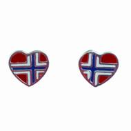 """Norway Flag Sterling Silver Earrings (Posts) - 1/2"""" (780436)"""