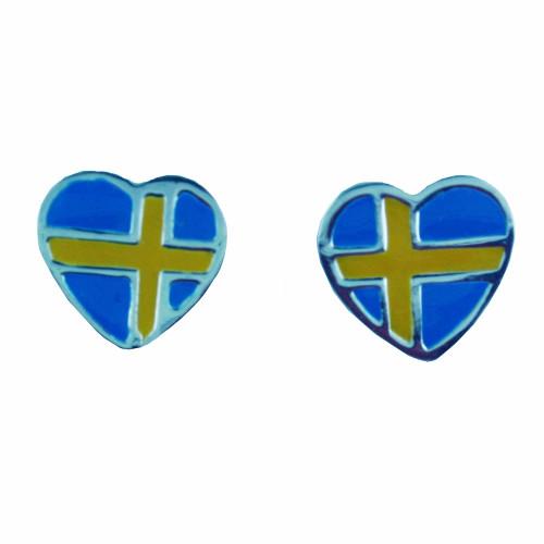 "Sweden Flag Sterling Silver Earrings (Posts) - 1/2"" (780540)"