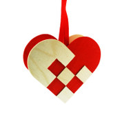 Heart Basket Wooden Decoration - (3281)