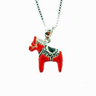 """Dala Horse Pendant/Necklace - 1/2"""" - w/15"""" Silver Chain (780623)"""