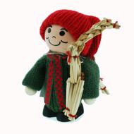 Tomte Santa Holding Straw Goat - (9423)