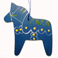 Dala Horse Wooden Ornament - Blue - (887BLU)